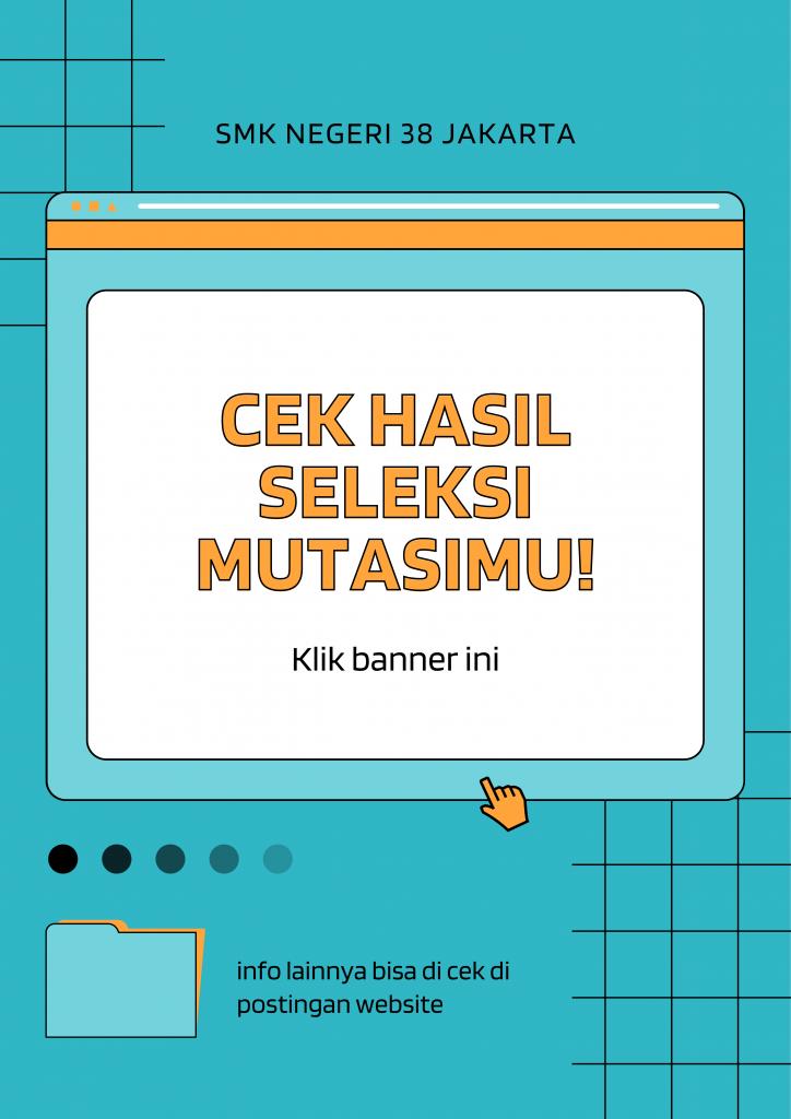 Poster Promosi Klub Sekolah Saya Komputer Bergaris Turkuois dan Oranye